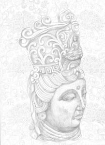 Kwan Yin with Chrysanthemums, silverpoint drawing.